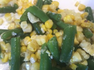 Green beans and roasted corn