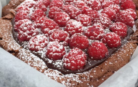 Where is the Love? Heart Shaped Chocolate Almond Cake with Chocolate Ganache and Raspberries