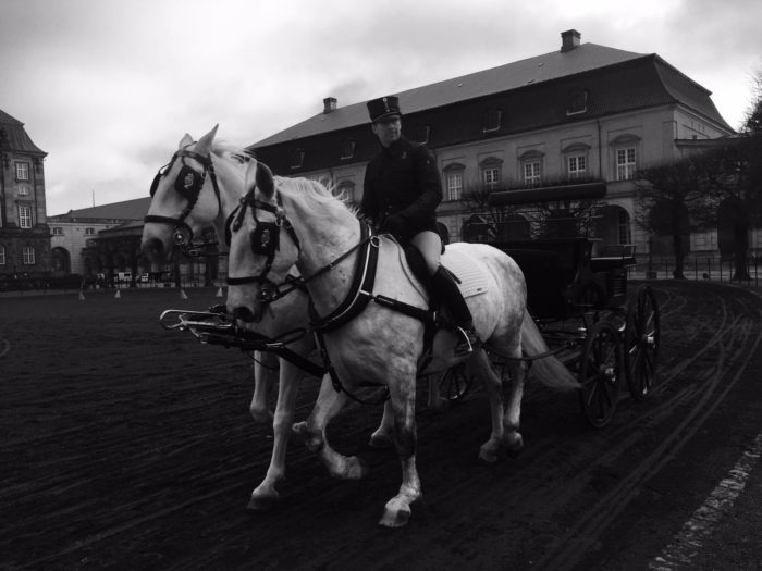 Royal horse carriages at Christianborg Palace